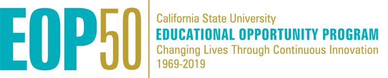 EOP 50th year anniversary logo link to the statewide CSU EOP 50th website